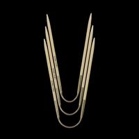 «addi» – Made in Germany «addiCraSyTrio» Bamboo 5 mm, jeu de 3 aiguilles circulaires, 24 cm