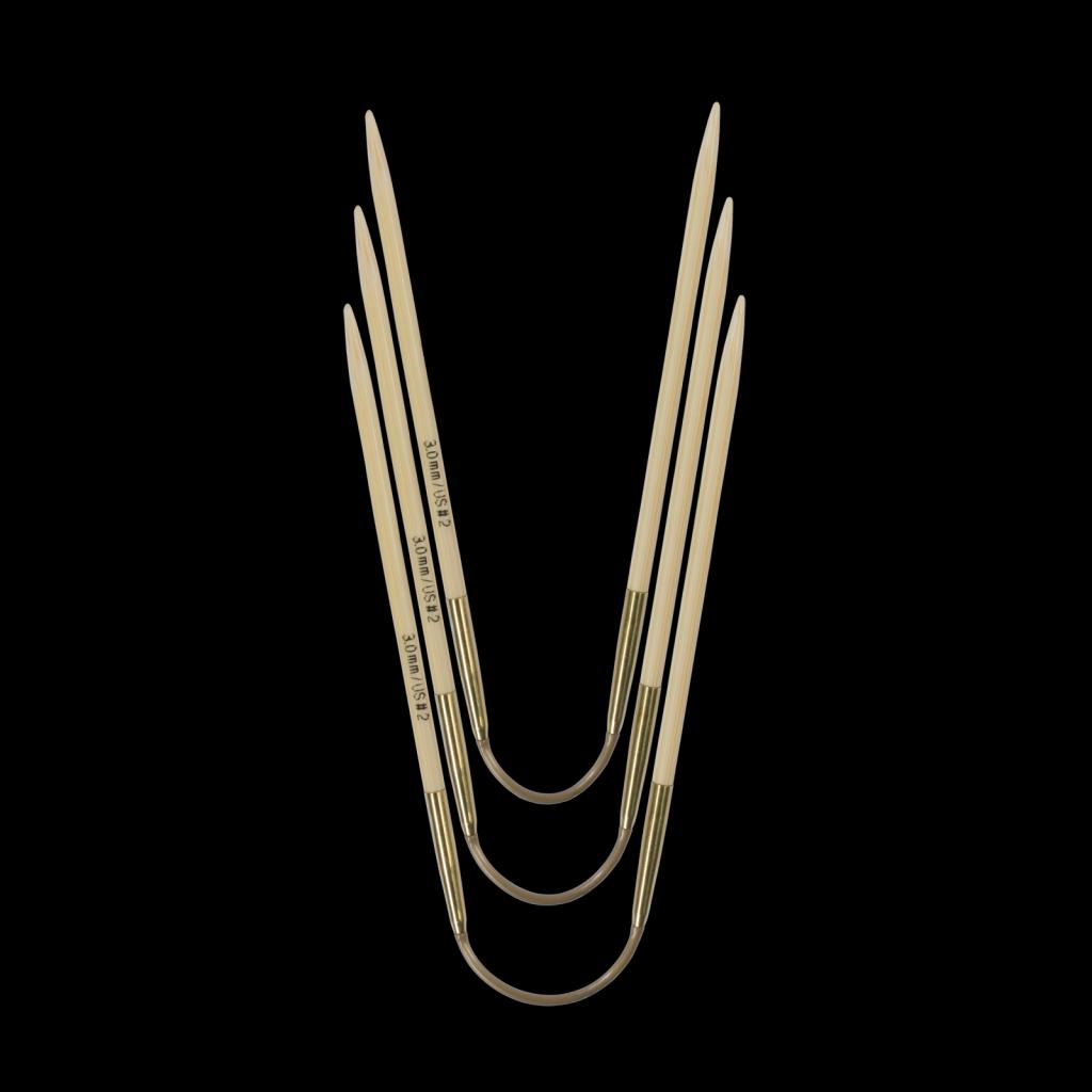 «addi» – Made in Germany «addiCraSyTrio» Bamboo 3.5 mm, jeu de 3 aiguilles circulaires, 24 cm
