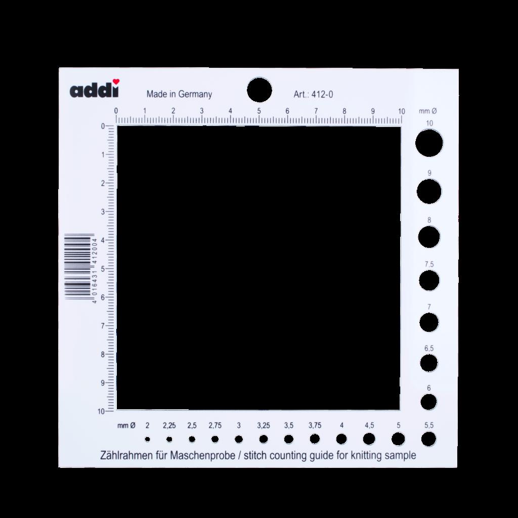 «addi» – Made in Germany «addi» Maschenprobe-Schablone und Nadelmass