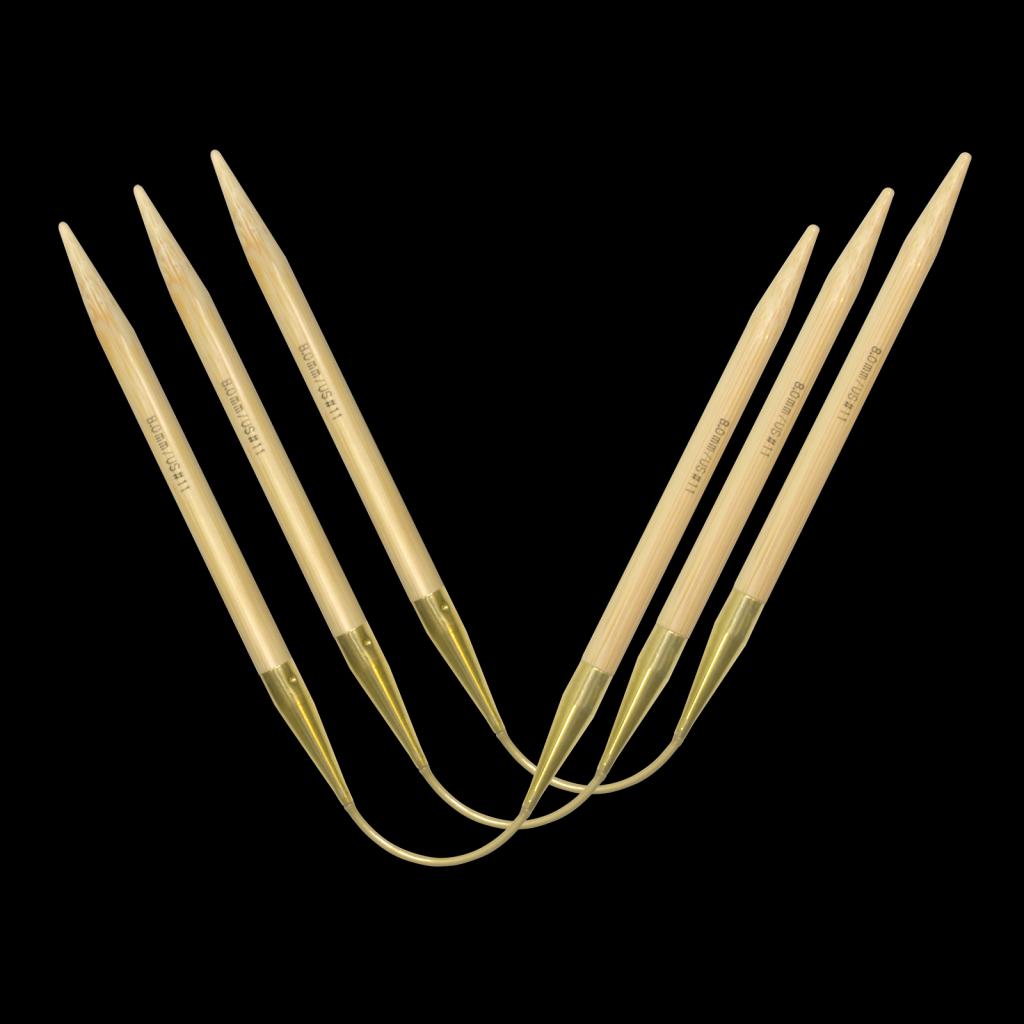 «addi» – Made in Germany «addiCraSyTrio» Bamboo Long 6 mm, jeu de 3 aiguilles circulaires, 30 cm