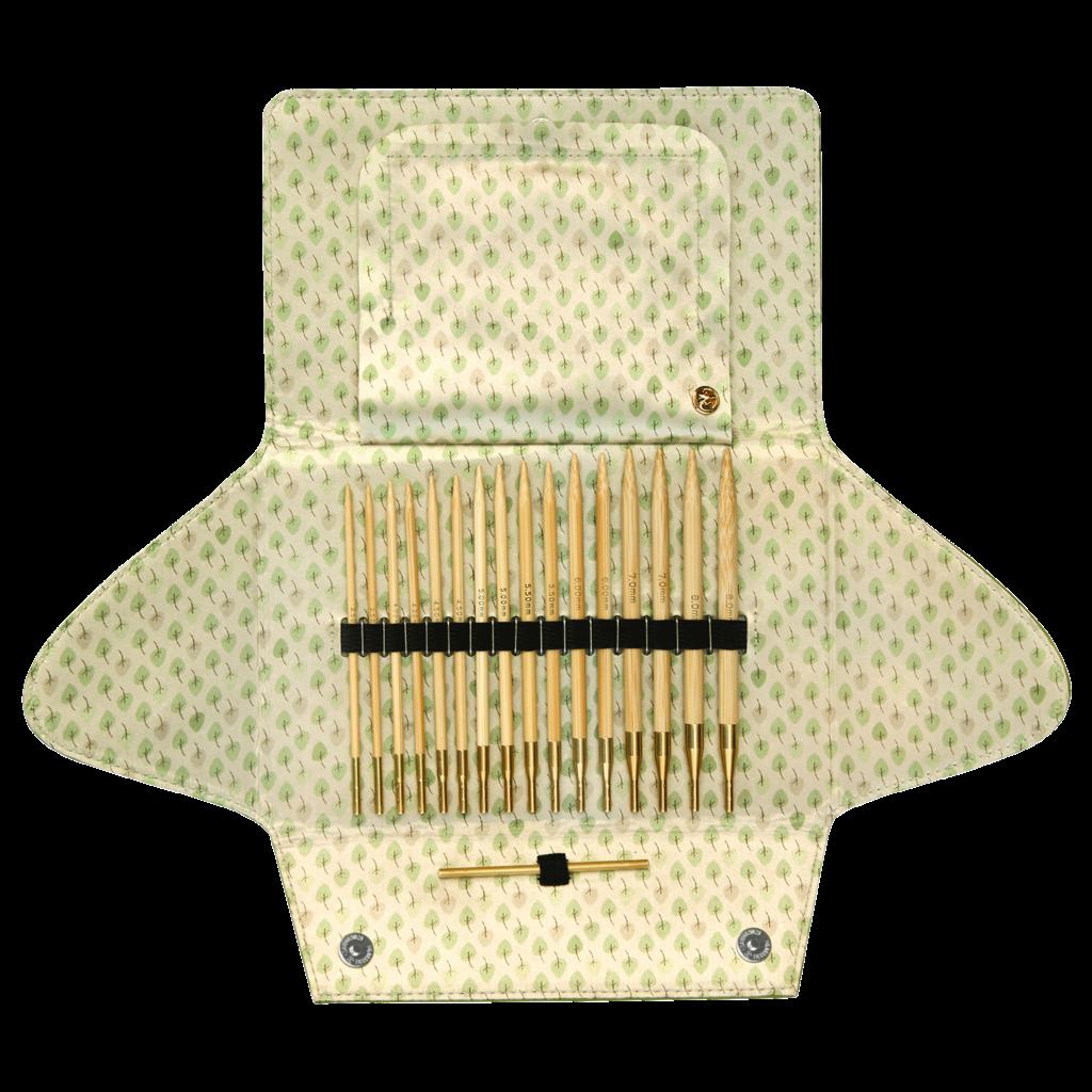 «addi» – Made in Germany «addiClick BAMBOO» set de pointes d'aiguilles de 3.5 mm – 8 mm et cordes de 60/80/100 cm
