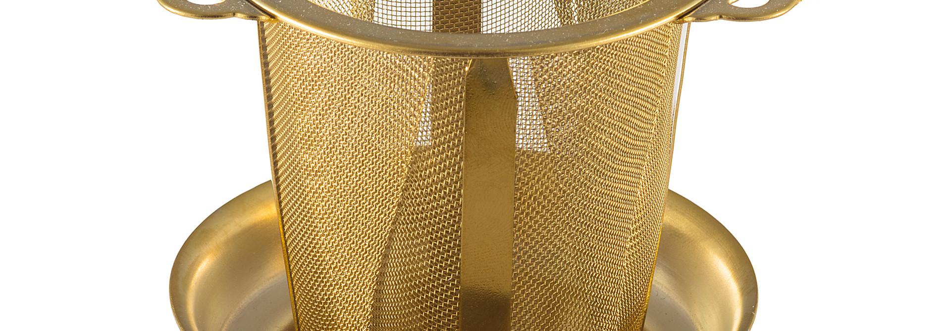 Permanentfilter Ornament met uitlekschaaltje - goudkleurig