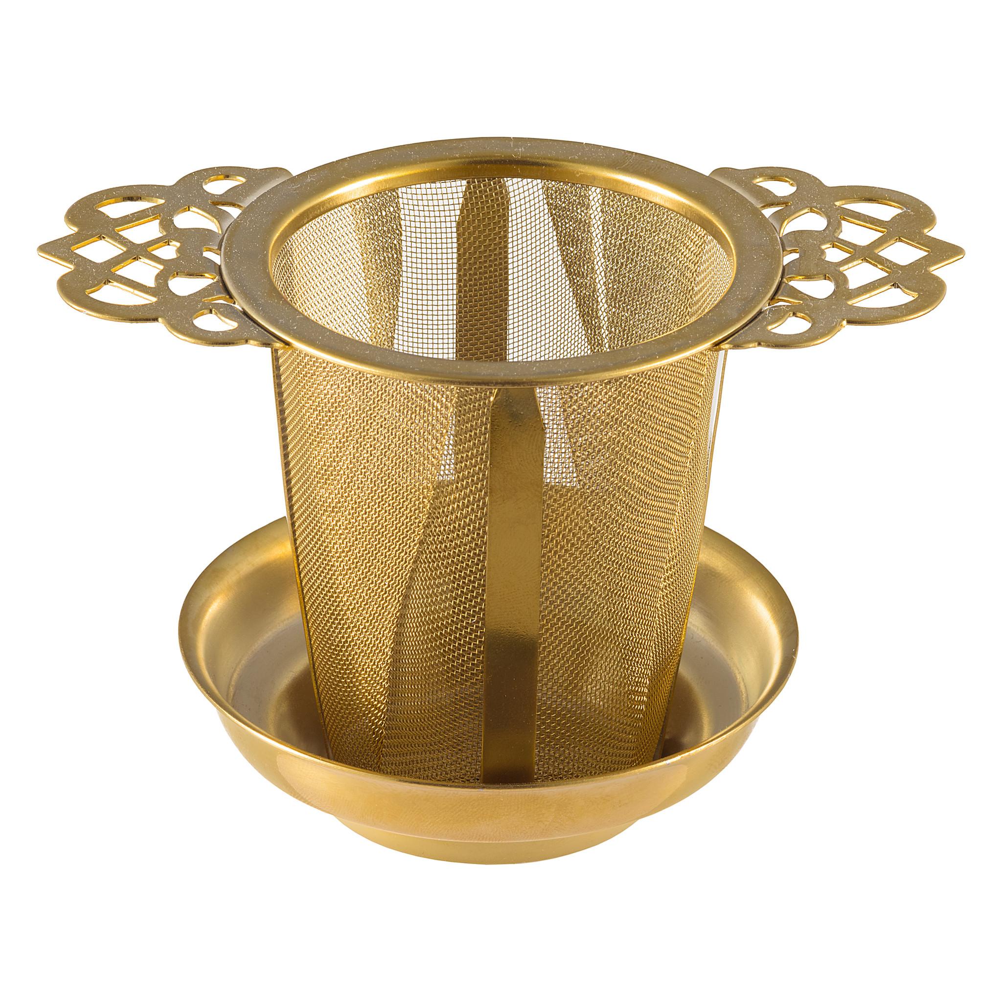Permanentfilter Ornament met uitlekschaaltje - goudkleurig-1