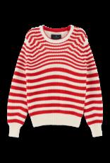 Scotch R'Belle Scotch R'Belle rood wit gebreid gestreepte trui