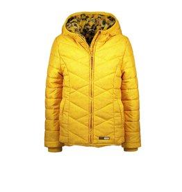 Moodstreet Moodstreet winterjas geel teddy voering panterprint