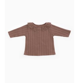 Play Up Play Up purplewood shirt met volantkraagje