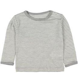Fixoni Fixoni Wol/Zijde Grijs Wit Gestreept Shirtje