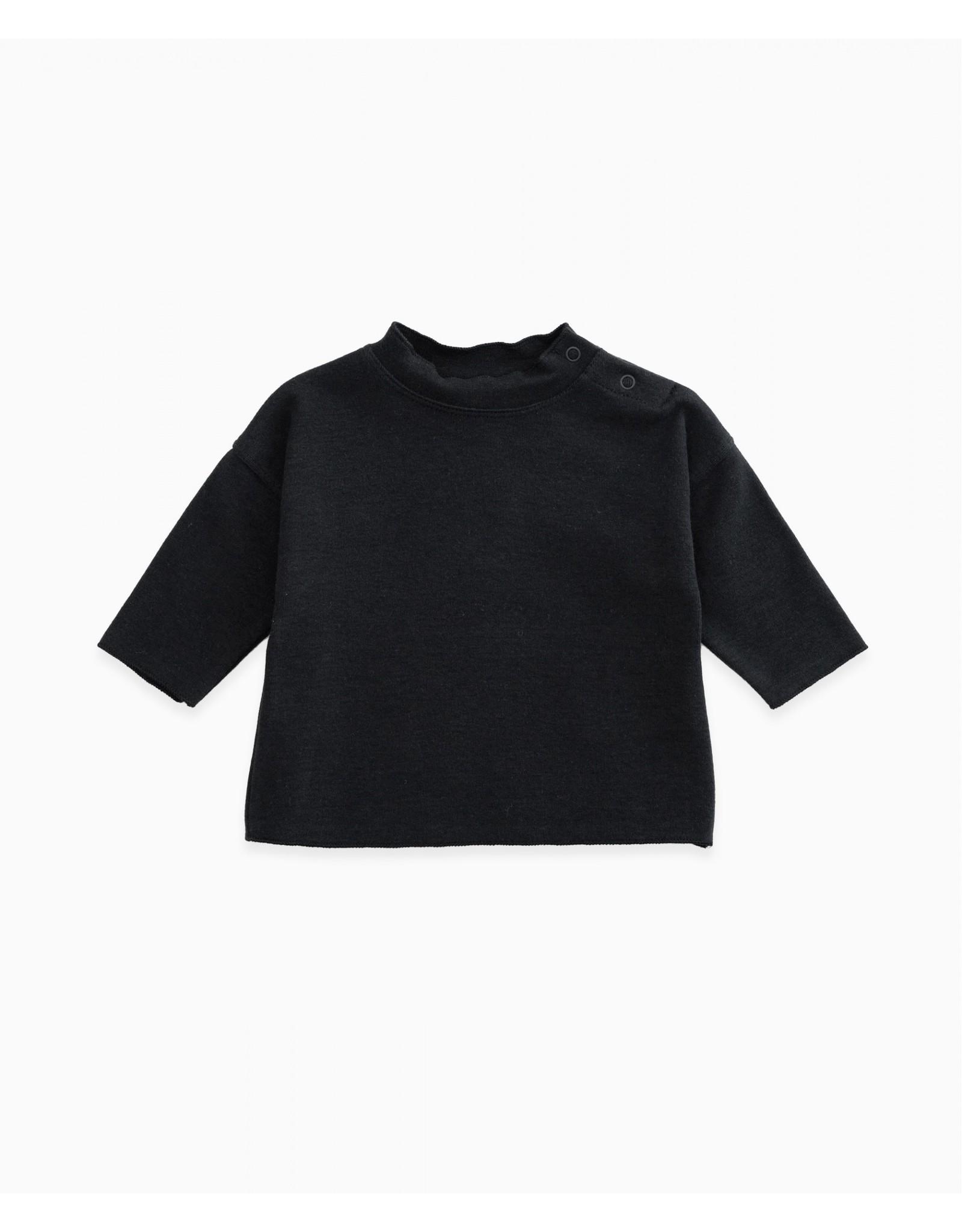 Play Up Play Up ruler (zwart) shirt met knoopjes