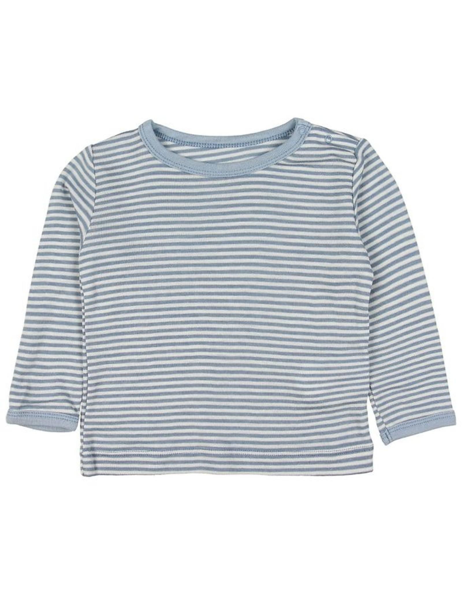 Fixoni Fixoni Wol/Zijde Shirtje Blauw Wit Gestreept