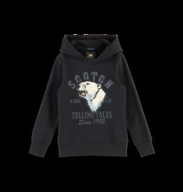 Scotch Shrunk Scotch Shrunk zwarte hoodie met ijsbeer opdruk