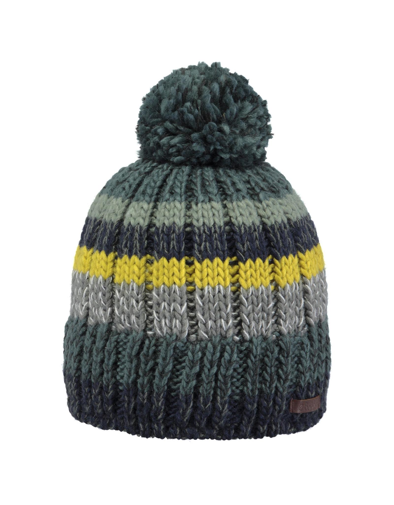Barts Barts muts gehaakt grijs met groen geel