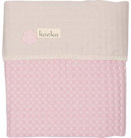 Koeka Koeka Ledikantdeken Antwerp Wafel Flanel Old Baby Pink Pebble