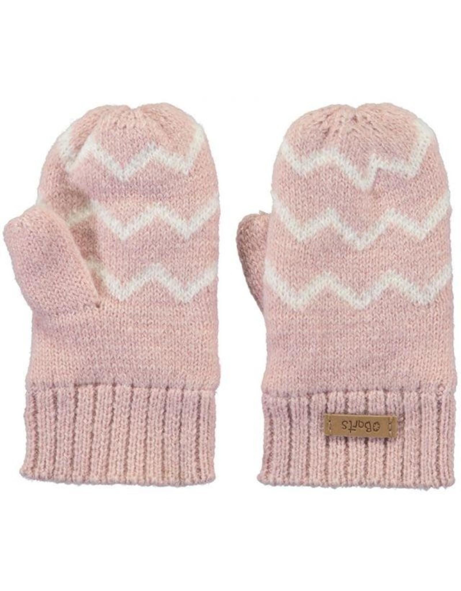 Barts Barts wantjes gebreid roze met wit zigzag
