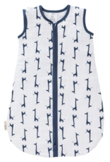 Fresk Fresk Zomerslaapzak Mouwloos Muslin-katoen Wit met Blauw Giraf