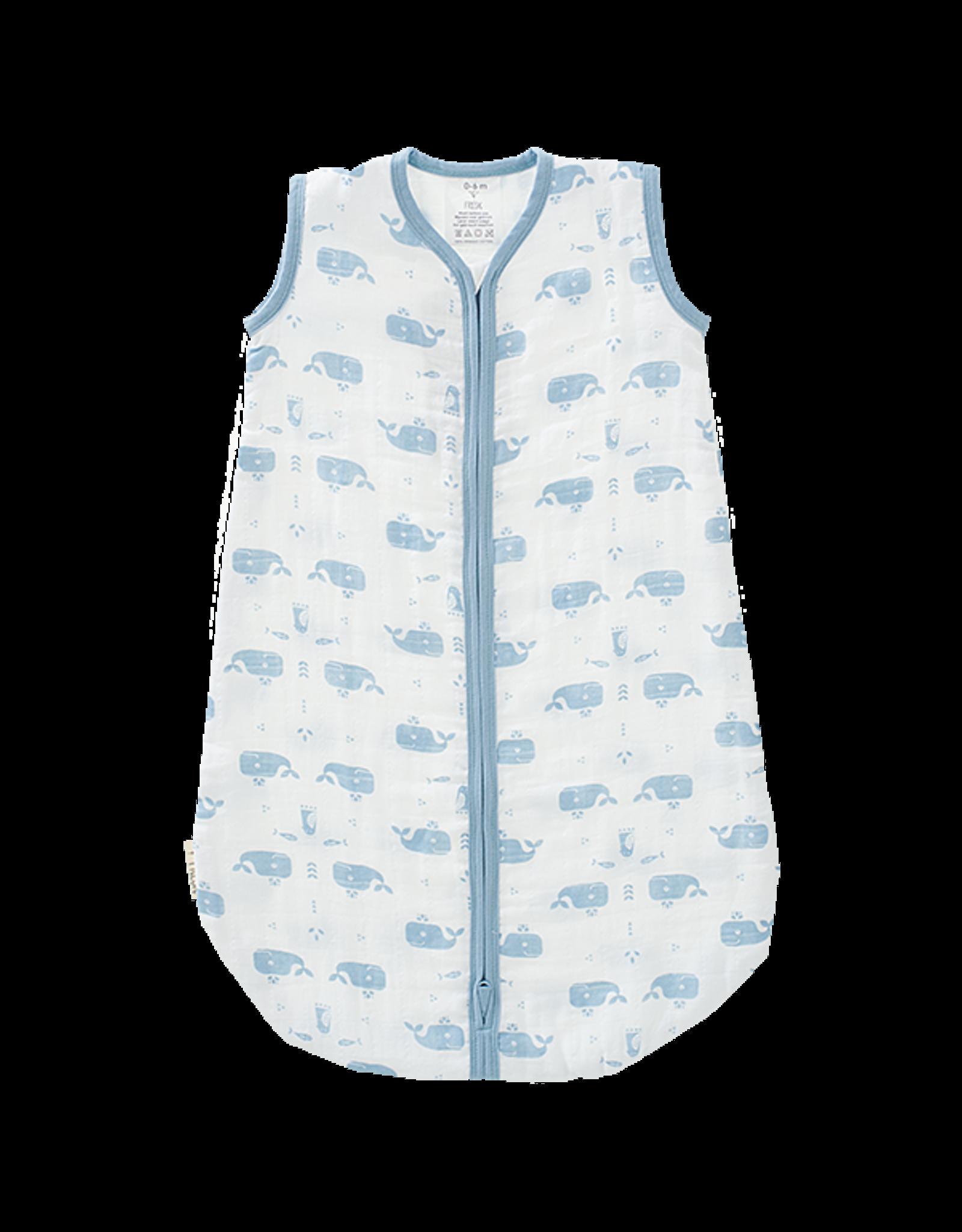 Fresk Fresk Zomerslaapzak Mouwloos Muslin-katoen Wit met Blauw Walvis