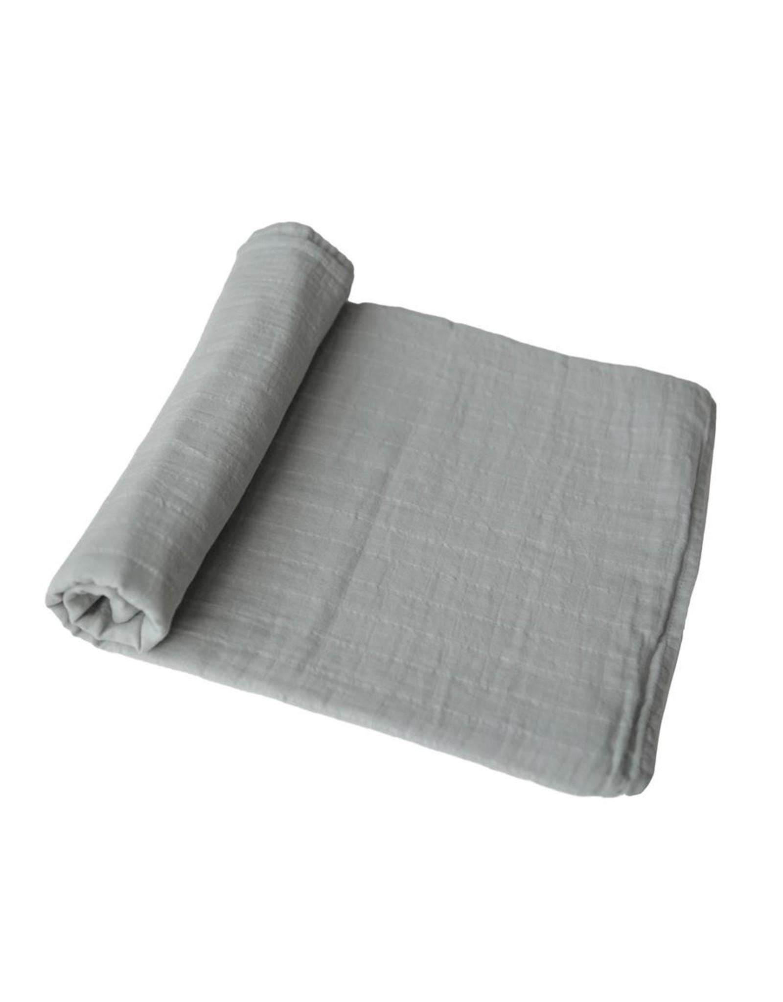 Mushie Mushie Extra Soft Muslin Swaddle Belgian Grey