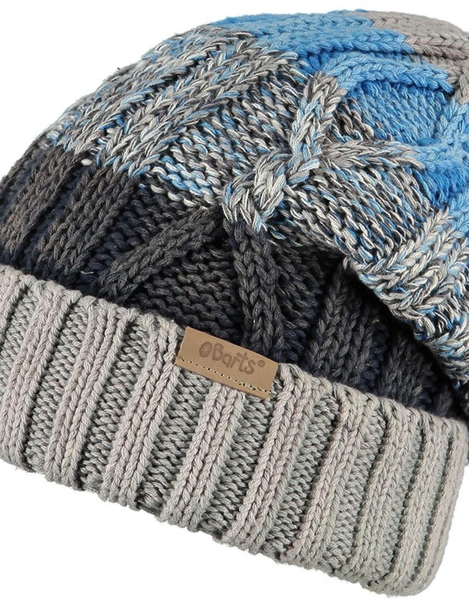 Barts Barts muts met banen kabel gebreid van grijs en blauw