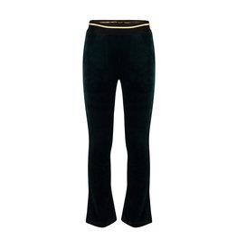 Indian Blue Jeans IBJ Velvet Flare Rib Broek Donkergroen