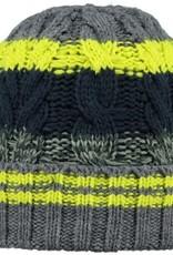Barts Barts muts kabelmotief neongeel strepen donkerblauw/grijs