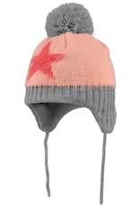 Barts Barts muts roze met rode ster en grijze pompom