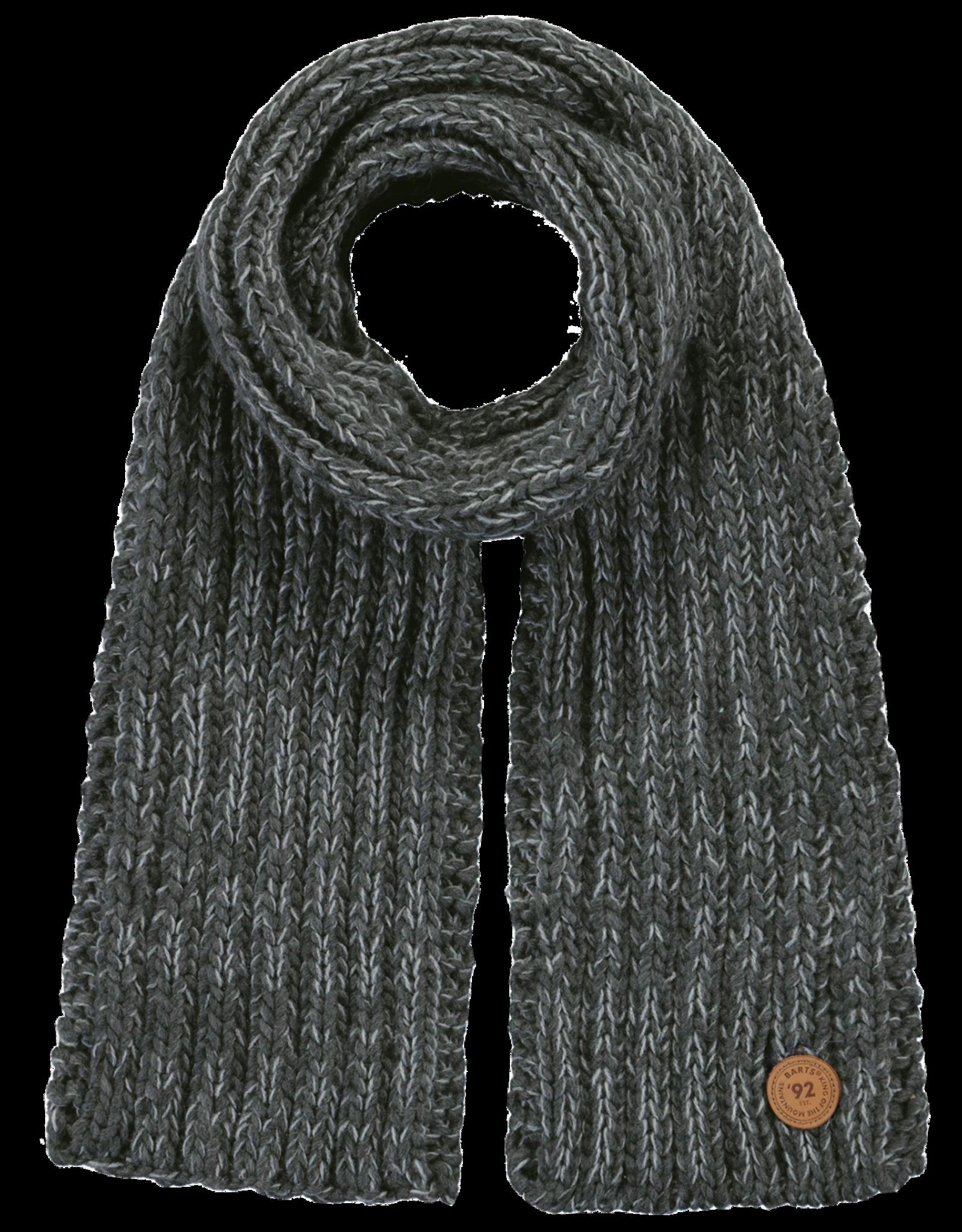 Barts Barts sjaal gebreid antraciet met lichtgrijs