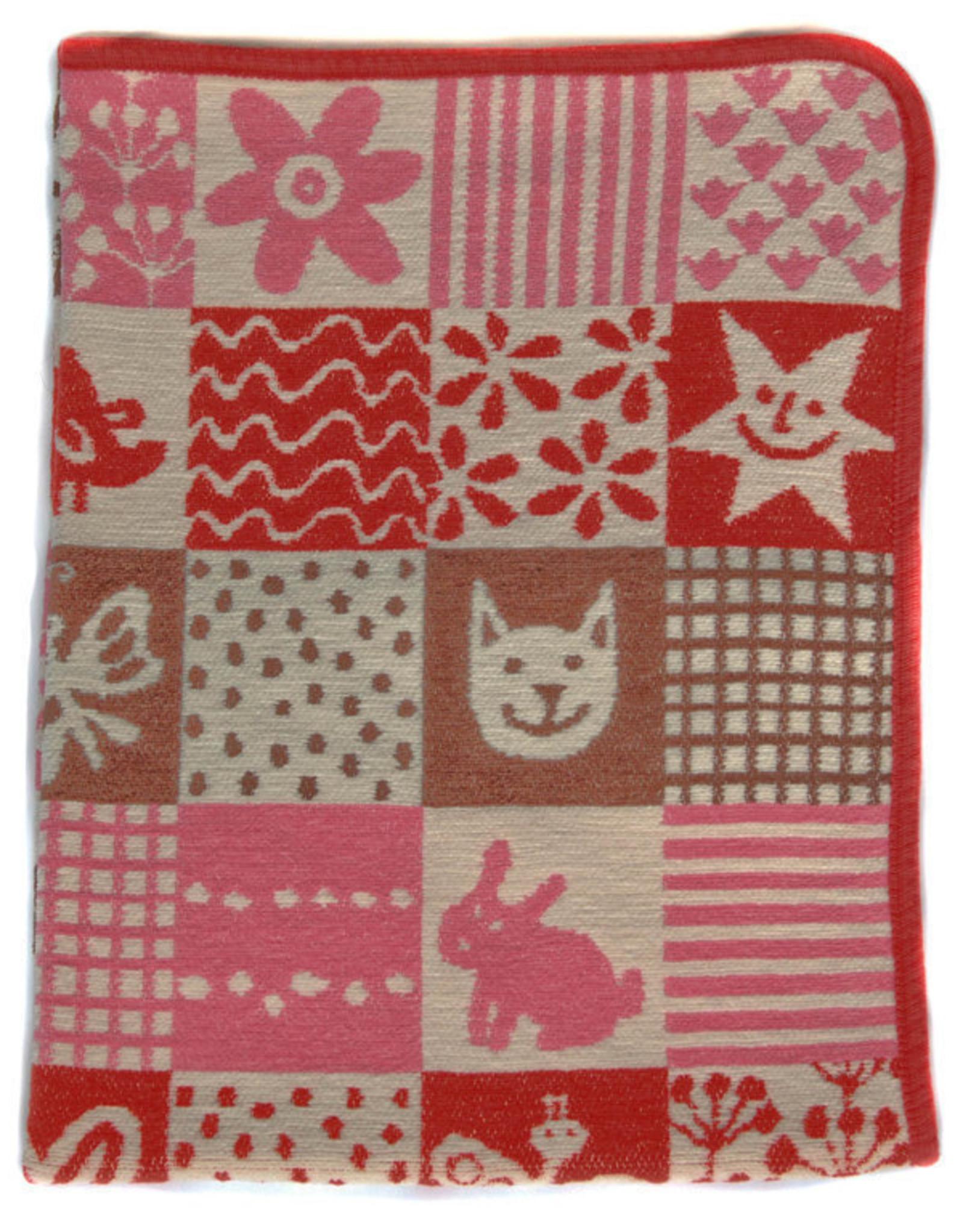 Klippan Klippan Wiegdeken Chenille Katoen Quilt Roze/Rood/Bruin 70x90