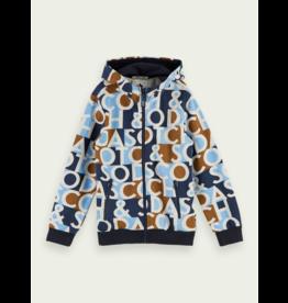 Scotch Shrunk Scotch Shrunk hoodie met ritssluiting en allover print