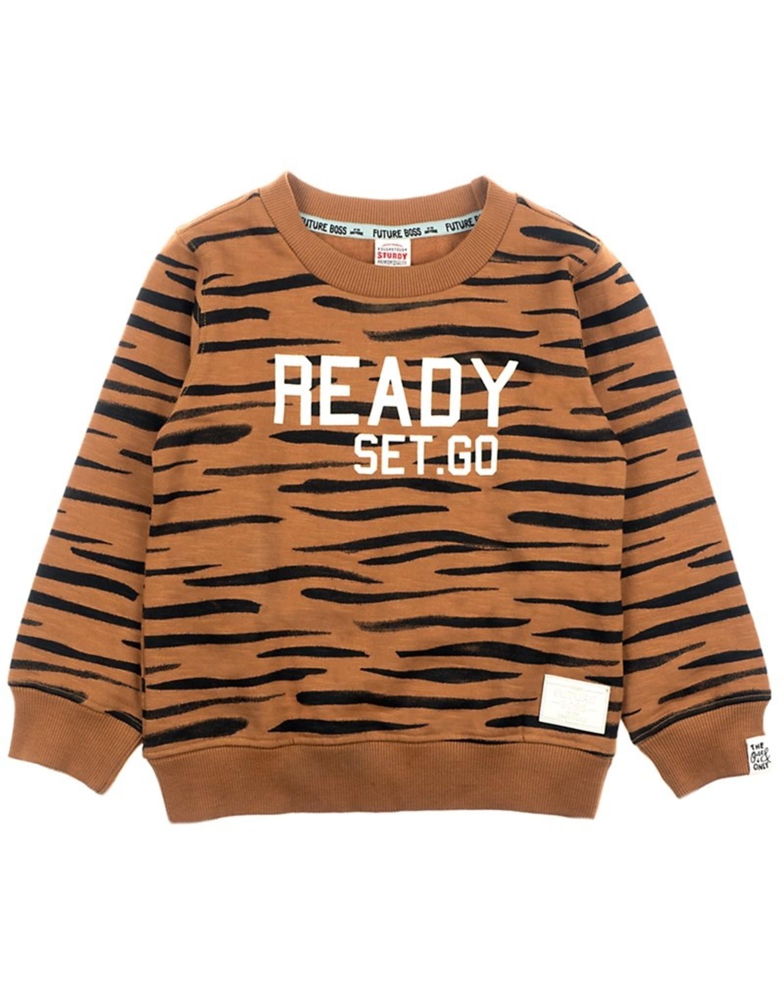 Sturdy Sturdy bruine trui met 'Ready Set Go' opdruk