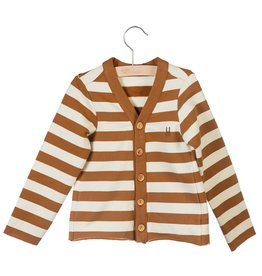 Little Hedonist Little Hedonist vest met lange mouwen bruin/off-white