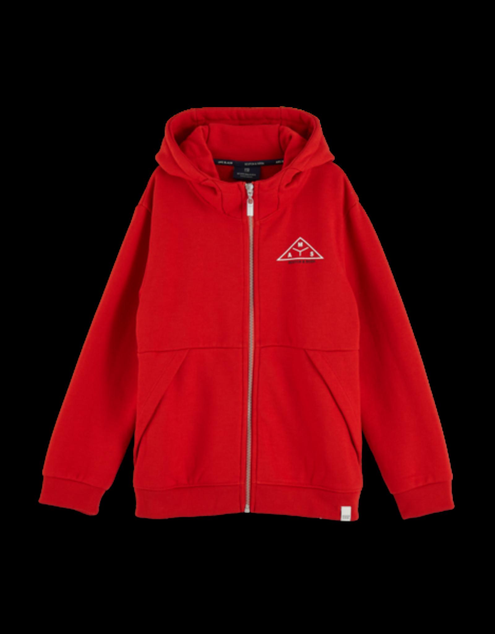 Scotch Shrunk Scotch Shrunk rode hoodie met rits en opdruk