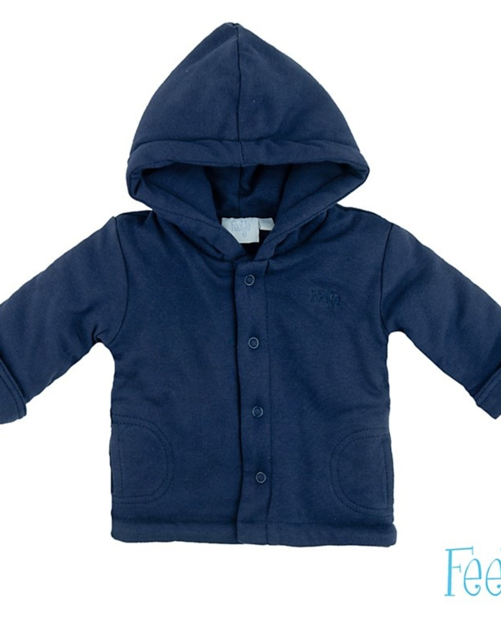 Feetje Feetje marineblauw gewatteerd jasje met capuchon