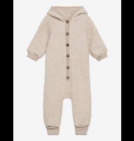 Mikk-Line Mikk-Line wollen baby pakje met capuchon Melange Offwhite