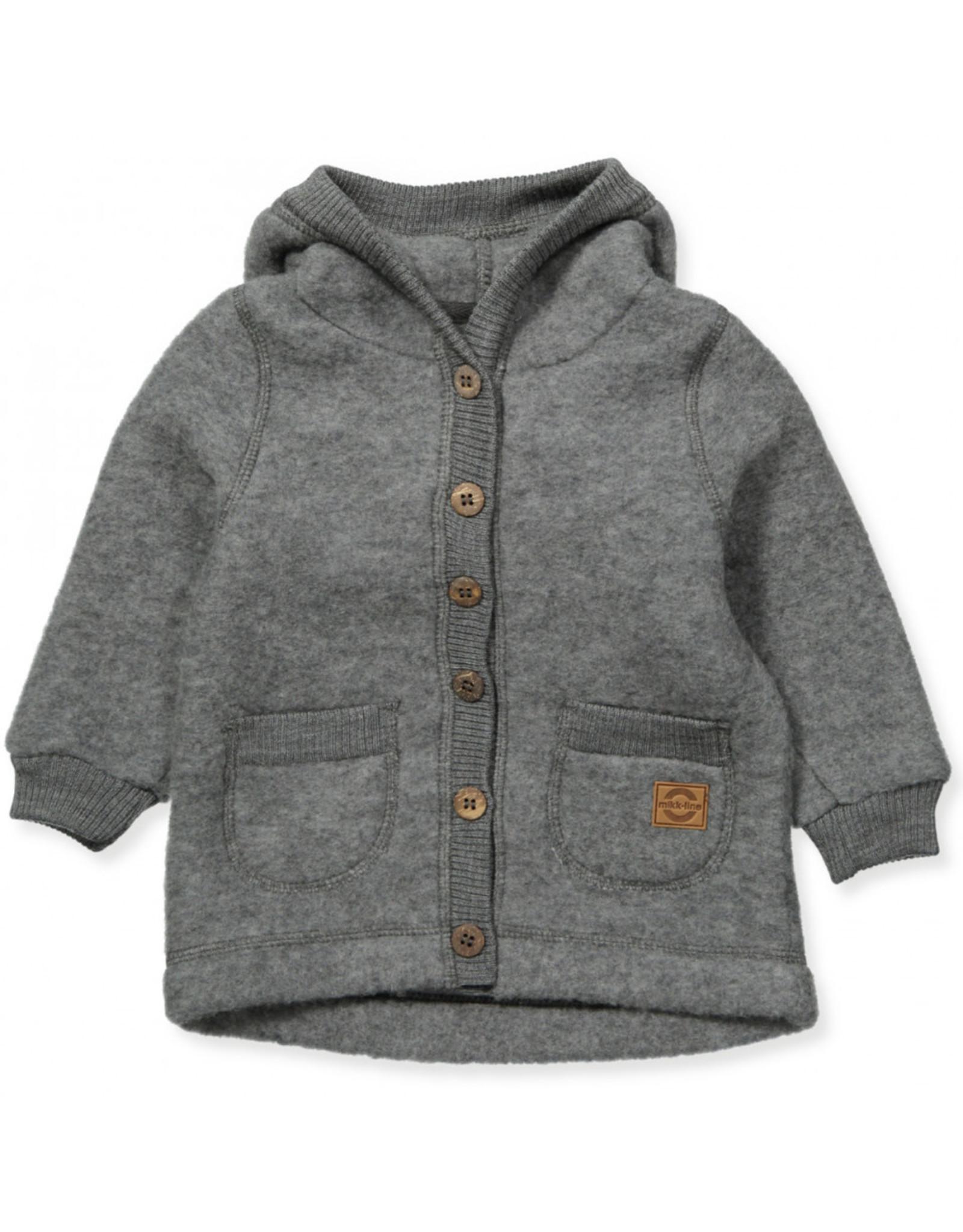 Mikk-Line Mikk-Line wollen vestje met capuchon Melange Grey