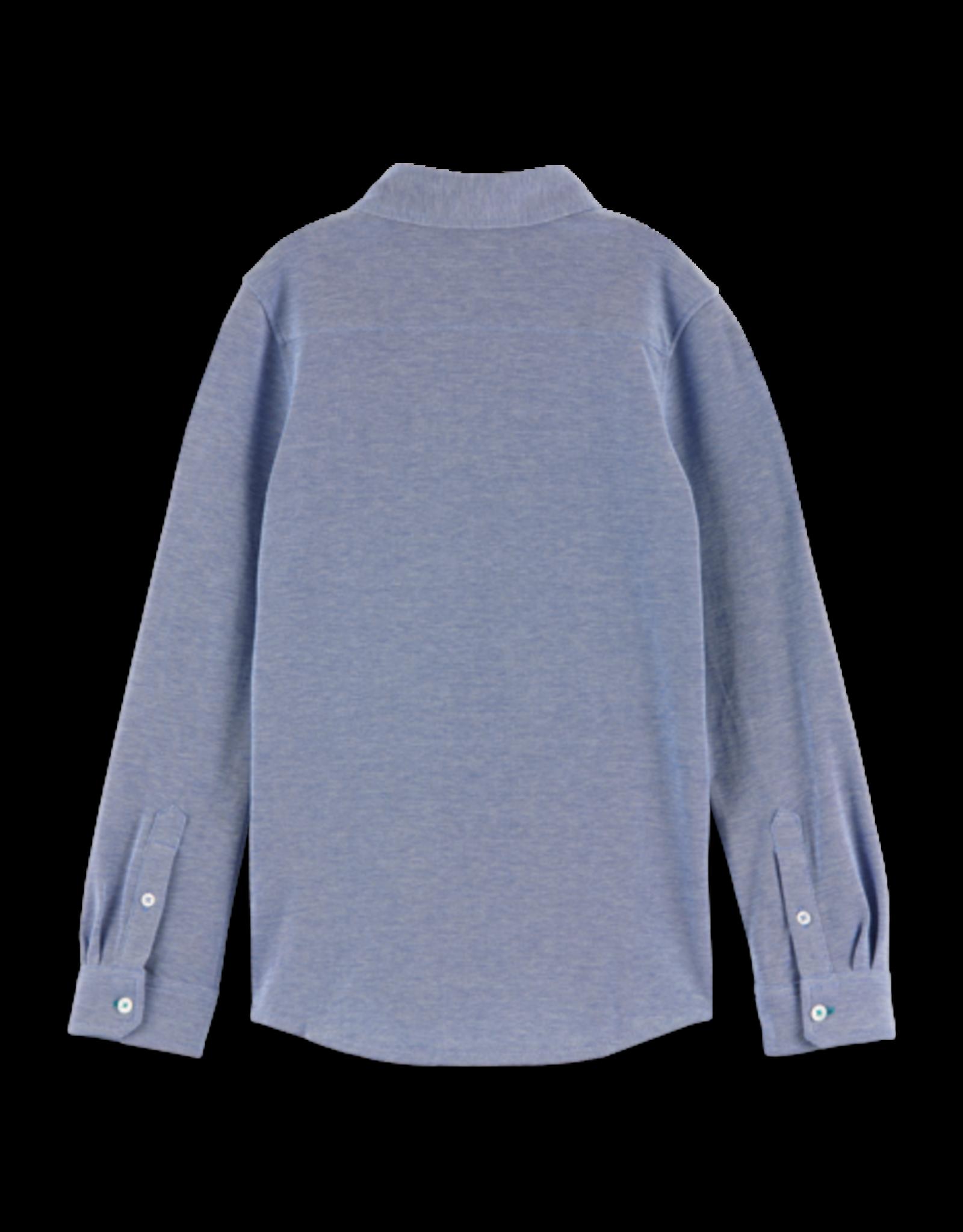 Scotch Shrunk Scotch Shrunk  stretch overhemd blauw gemeleerd