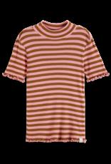 Scotch & Soda Scotch R'belle bruin/roze gestreept shirtje met hoge halslijn