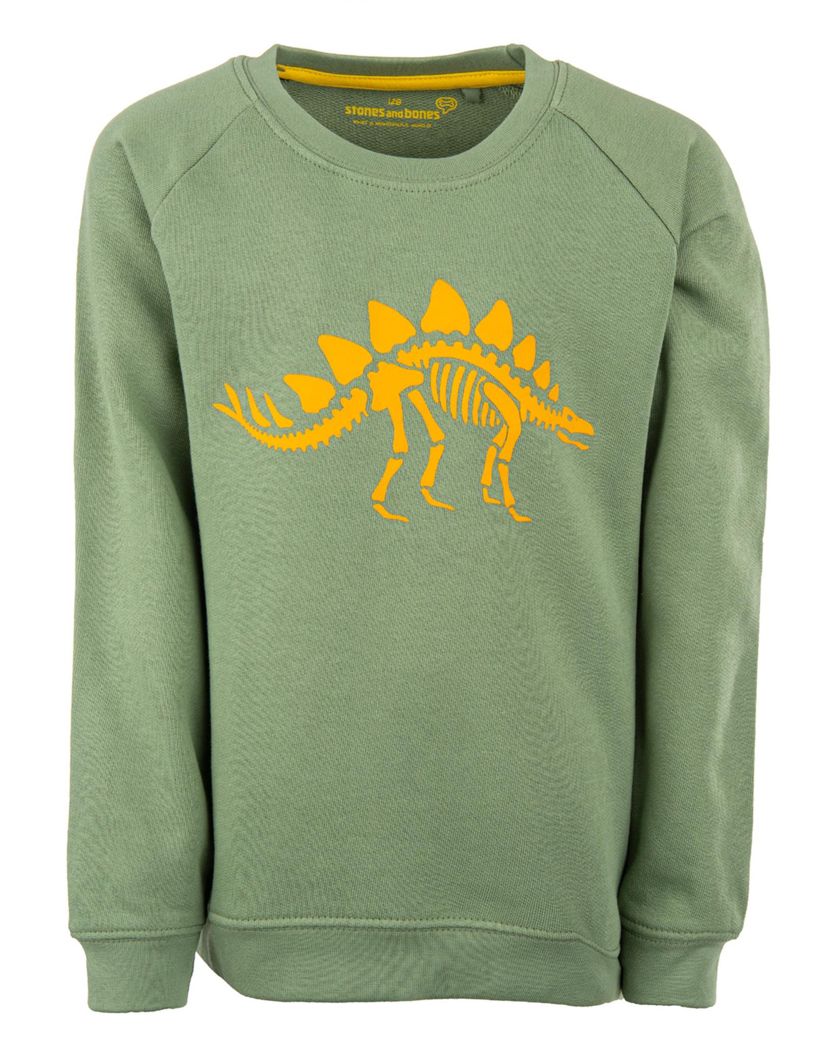 Stones and Bones Stones and Bones 'Imagine' Dino khaki sweatshirt