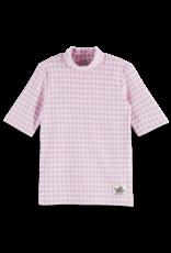 Scotch & Soda Scotch R'Belle shirt korte mouw met hoge hals geruit wit/lila