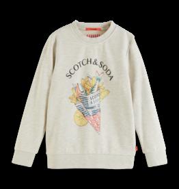 Scotch & Soda Scotch Shrunk grijze sweatshirt met fish & chips opdruk