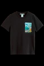 Scotch & Soda Scotch Schrunk t-shirt zwart met artwork reef