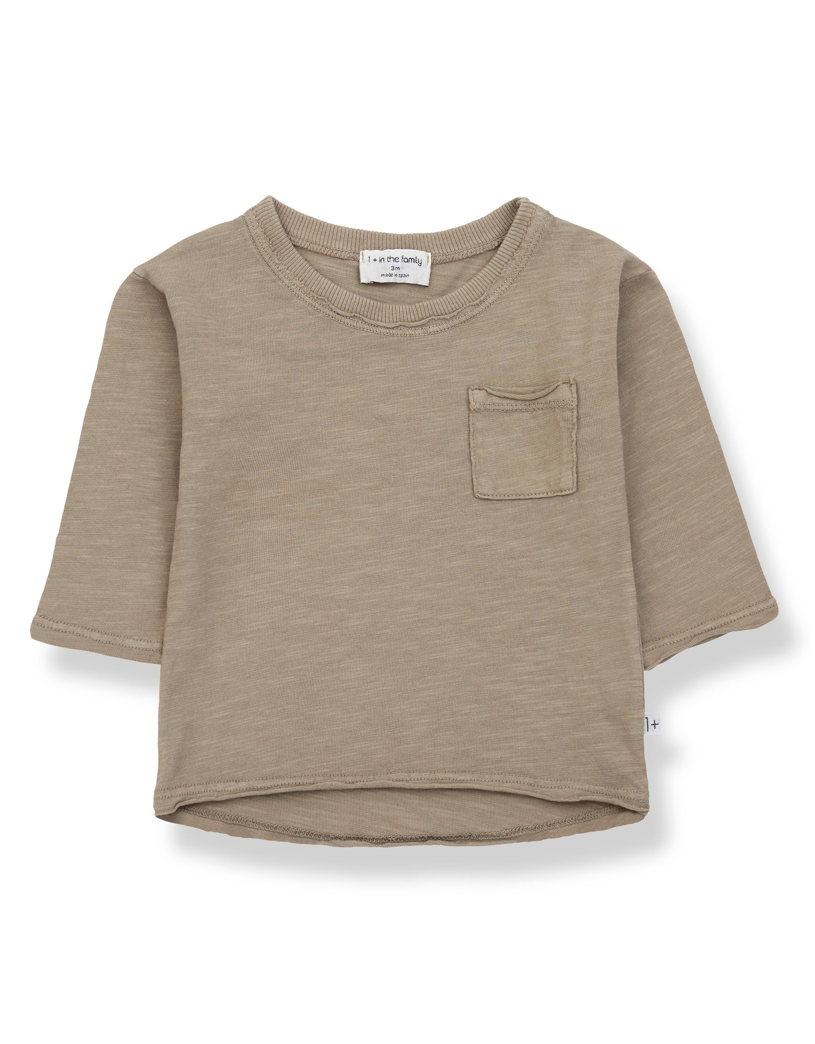 1+ In The Family 1+ in the Family PERE t-shirt met lange mouwen khaki