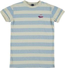Bonmot Organic Bonmot Organic off-white/lichtblauw gestreept t-shirtjurkje BMT