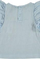 Bonmot Organic Bonmot Organic lichtblauw shirt met ruches