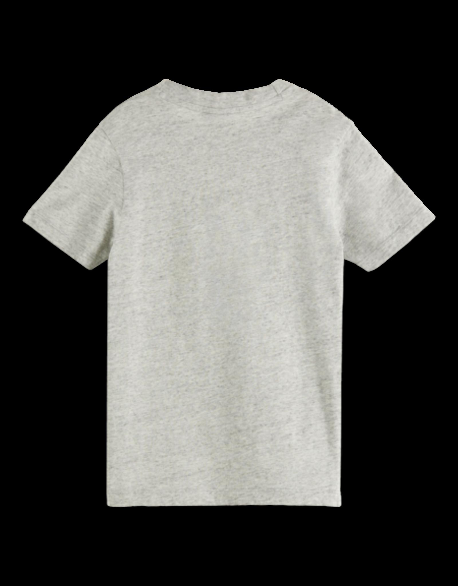 Scotch & Soda Scotch Shrunk grijs gemêleerd t-shirt met logo in roodtinten