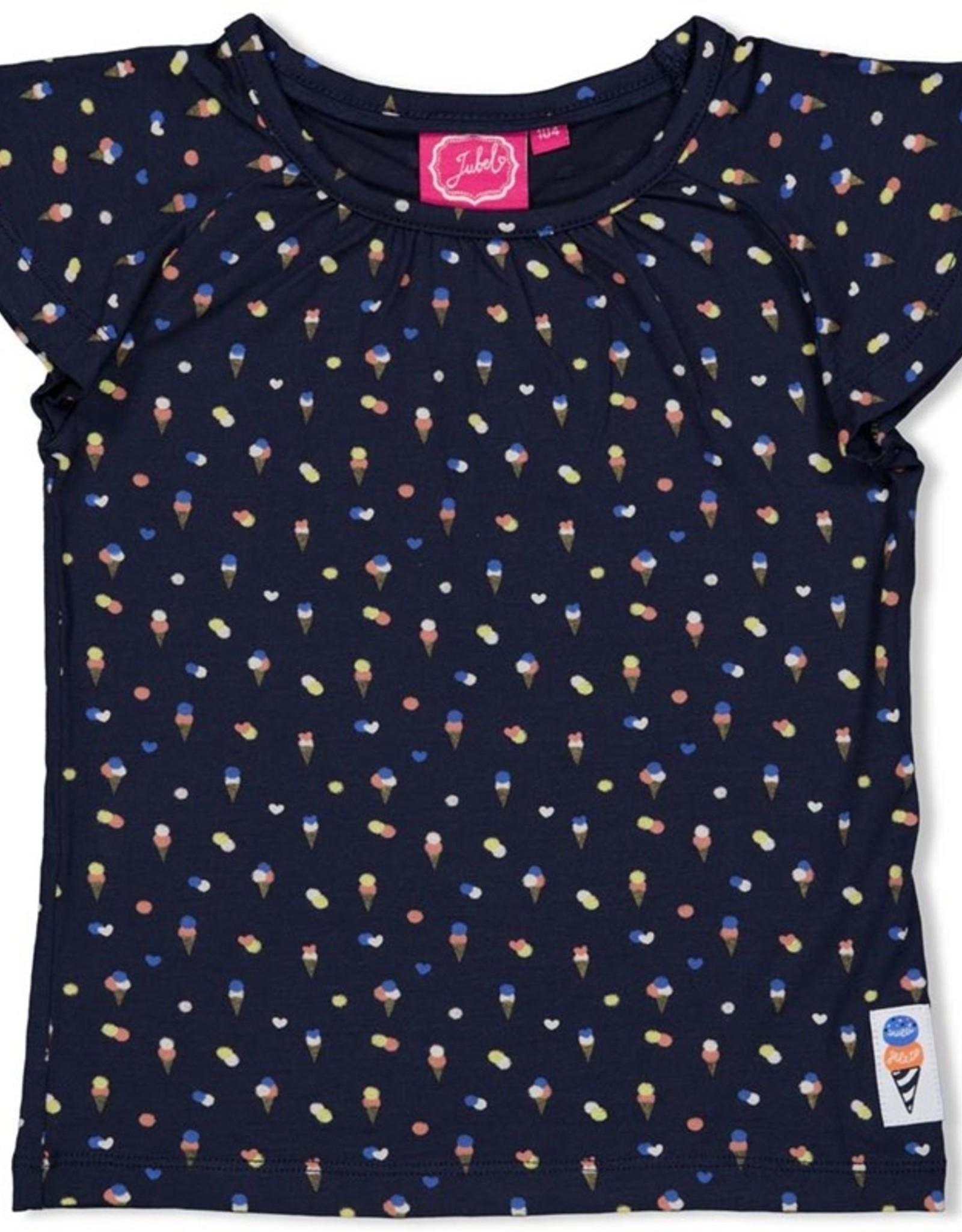 Jubel Jubel navy t-shirt met ijsjesprint