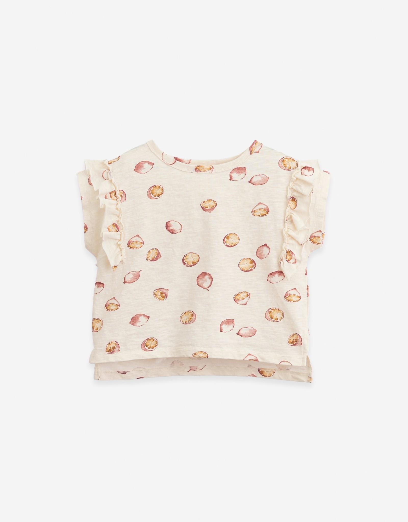 Play Up Play Up t-shirt met ruches en citroenenprint dandelion (ecru)