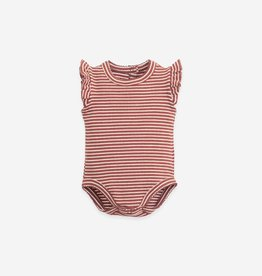 Play Up Play Up gestreepte rib romper met ruches farm (roest)