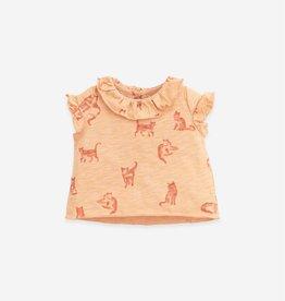 Play Up Play Up t-shirt met ruches en kattenprint teresa (lichtroze)