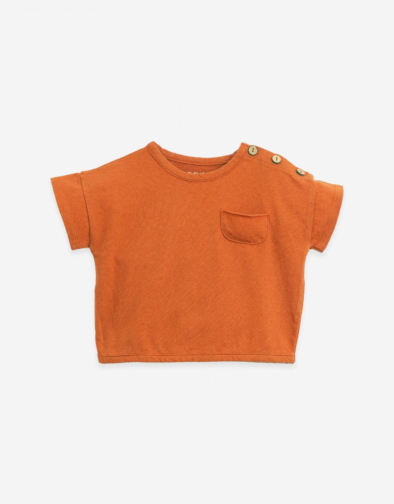 Play Up Play Up t-shirt met knoopjes en zakje anise (donkeroranje)