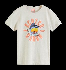 Scotch & Soda Scotch Shrunk grijs t-shirt met zwaardvis opdruk