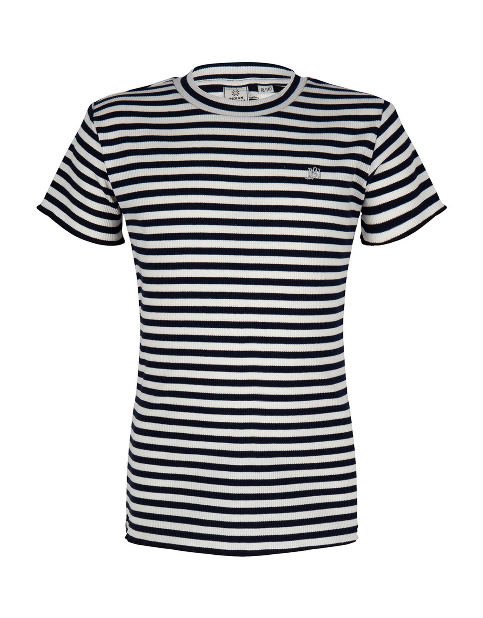 Indian Blue Jeans IBJ gestreept t-shirt wit/navy